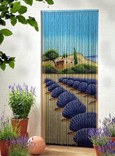 Rideau de porte en bambou Rideau en bambou Rideau de porte « Lavande XL» env. 115 x 220 cm