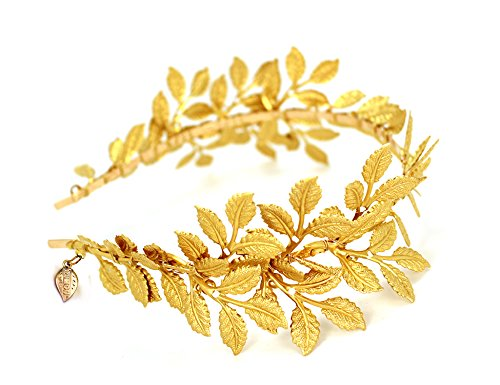 OUMOU Eleganten Blatt Hochzeit Tiara Kronen Stirnband Braut Tiara Kopfschmuck (Blatt Hochzeit Tiara) (Olive Goldenen Zweig)