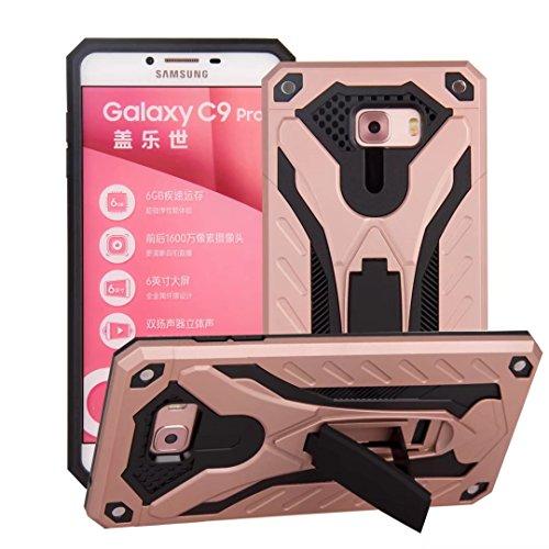 EKINHUI Case Cover Neue Hybrid-Rüstung schützende rückseitige Abdeckung Shockproof Doppelschicht PC + TPU rückseitige Abdeckung mit Kickstand für Samsung-Galaxie C9 Pro ( Color : Black ) Rosegold
