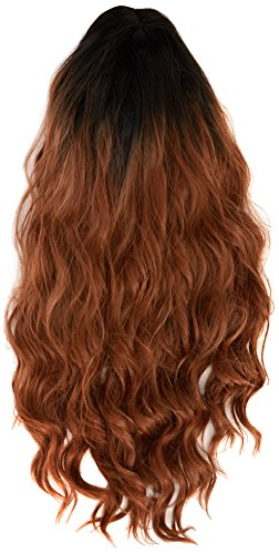 amback lang Dye dunklen Wurzeln Ombre Cosplay Halloween Perücke für Frauen gelockt Welle Haar Perücken Kappe/braun RF20