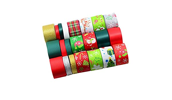 15pcs 25mm Wide Plaid Printed Polyester Ribbons for DIY Hairbow Party Decor