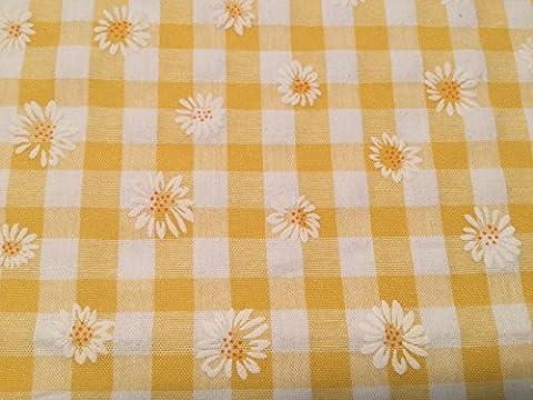 Daisy Puff Impression Tissu vichy Jaune–au mètre