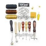 AngelaKerry 13 Stück/Kasten Leder Handgemachte Zubehör Werkzeuge Carft Grundlegende Set mit Loch Stanzen Nähte Punch-Stitching Handwerk Ahle