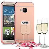 Slynmax Spiegel Metall Bumper Case Hart PC Plastik Rück Cover hülle für HTC One M9 Hülle 2in1 Dual Layer Electroplate Handy Anti-Scratch Case Handyhülle Transparent Crystal Tasche Backcover (Roségold)