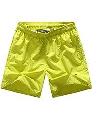 PZLL Los hombres pierden yardas en verano pantalones de playa, sólido color XL surf rápido seca pantalones cortos , yellow , xxl