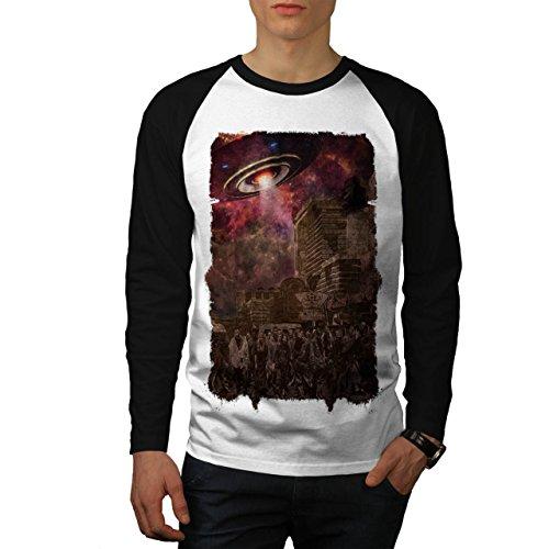 Klon Kostüme Armee (Armee Toter Mann UFO Zombie Tot Monster Herren M Baseball lange Ärmel T-Shirt |)