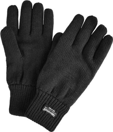 Strick Fingerhandschuhe mit Thinsulatefütterung Winterhandschuhe Farbe Schwarz Größe XL