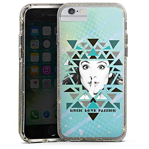 Apple iPhone 6 Bumper Hülle Bumper Case Glitzer Hülle Disney Purple Violetta Bumper Case Glitzer gold