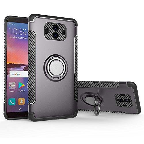 Preisvergleich Produktbild Shinyzone Ring Halter Ständer Hülle für Huawei Mate 10 Pro, [Kohlefaser Anti-Rutsch] [Kompatibel mit Magnetischer Autohalterung] Dual Layer TPU + PC Design Schutzhülle für Huawei Mate 10 Pro-Grau