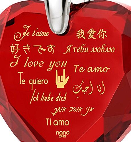Pendentif Coeur - Bijoux en Argent Fin avec Je t'aime en 12 langues inscrit en Or 24ct sur un Zircon Cubique en Forme de Coeur, 45cm - Bijoux Nano Rouge