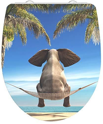 SCHÜTTE 82580 Duroplast High Gloss WC-Sitz HAPPY ELEPHANT mit Absenkautomatik und Schnellverschluss Motiv