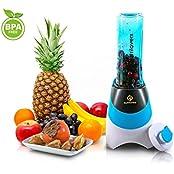 Smoothies Maker + Trink-Flasche to GO (BPA-frei) - Mini-Stand-Mixer | Edelstahl-Messer, bis zu 23.000U/min, 0,4PS Motor (300 Watt) - Qualität von NUTRILOVERS – blau