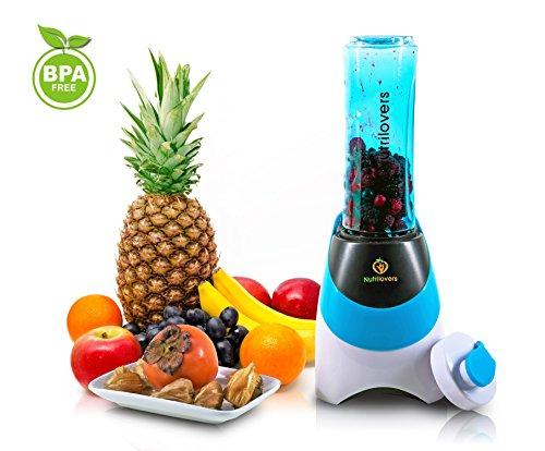 NUTRILOVERS- Smoothie-Maker con borraccia (senza BPA)–Mini supporto per Mixer | lame in acciaio inox, fino a 23.000u/min, 0,4ps Motor (300Watt) blu