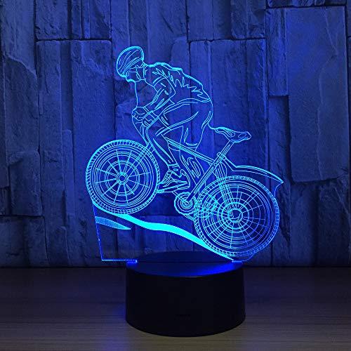 Mountain Bike Rider 3D Night Light 7 Colors Changing Led Desk Table Lamp 3D Illusion Sports Fans Gift For Boyfriend Kids (Light Rider Bike Night)