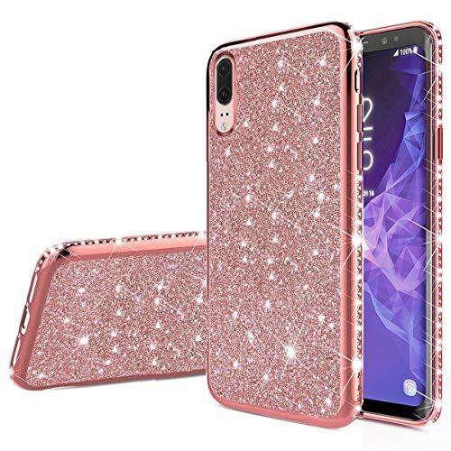 Nadoli Glitzer Hülle für Huawei P20,Luxus Ultradünne Funkeln Skin Weich Diamant Überzug Rahmen Glänzend Silikon Strass Etui Handyhülle Schutzhülle für Huawei P20