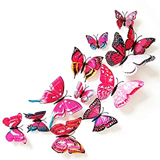 AIHOME™ Wall Stickers Wallpaper 3D Butterfly Removable PVC Wallcovering Wall Decoration Home Decals for Living Room Bathroom Bedroom Coffee Shop Cafe Bedroom Hotpink