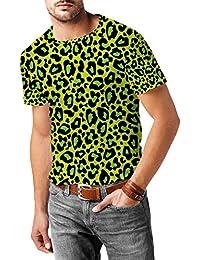 Estampado de leopardo brillante verde para hombre mezcla de algodón T-Shirt