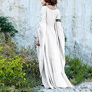 YU'TING ☀‿☀ Vestito Lungo Abito Vestiti Bambina Cerimonia Vestitini Manica Lunga Donna Abito Medievale Abiti da Donna Abiti Teatrali Donna Vestiti Donna Eleganti Stampa Floreale