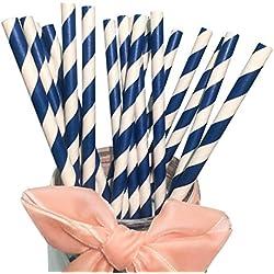 Pajitas de papel Bofa, con rayas de colores (19,7 cm), color azul marino (100 unidades)