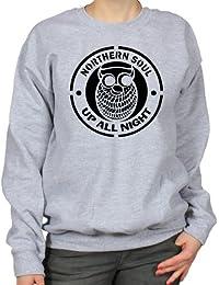 Northern Soul Up All Night Classic Owl Logo Womens Sweatshirt