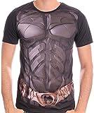 DC Comics - Maglia a maniche corte Uomo con stampa effetto armatura di Batman, Nero, XL