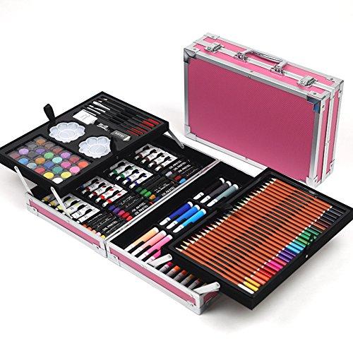 Cutelife-HO Aquarellstifte Doppel-Aluminium-Box 168 Kinder Malerei Set Schreibwaren Malerei Pinsel Aquarell Kunst Malerei Werkzeuge Gemalter Stift -