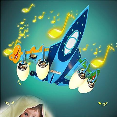 Malovecf Chambre d'enfant Avion LED Plafonnier Bluetooth Haut-parleurs Kids Bedroom Fixtures Kids Lights Plafonnier