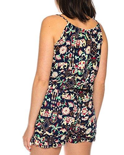 Dress Sheek Damen Jumpsuit Playsuit Sommer Luftig Mehrfarbig Gemustert Overall Kurz R308-NavyBlau