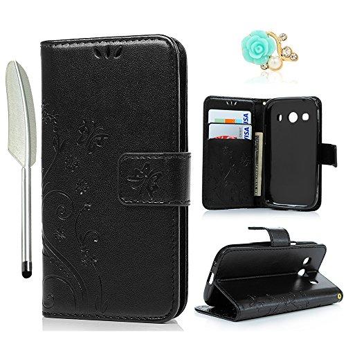 YOKIRIN Samsung Galaxy G357 Wallet Case Samsung Galaxy Ace 4 G357 SM-G357FZ (4.3 Zoll) Hülle Stand PU Leder Tasche Wallet Flipcase Schut Bookstyle Silikon Brieftasche Handyhülle Schmetterling Schwarz