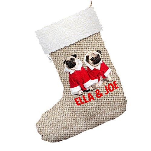Personalisierte Weihnachts-Mops tragen Santa Kostüm großer Hessischer Weihnachtsstrumpf mit weißem (Hessische Sack Kostüm)