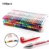 DHOUTDOORS Set de 100 Colores Bolígrafos de Gel Suave Flujo NIB Libros de Larga Duración Marcadores Glitter Neon Metalizado