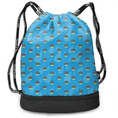 Multipurpose Drawstring Bag for Men & Women, Pattern with Dark Storm Clouds Thunderbolt and Raindrops On Blue Background,Tote Sack Large Storage Sackpack for Gym Travel Hiking -