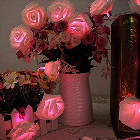 Rose Fleur Fairy Lights, Morbuy 20LED/30LED/40LED/50LED Rose Flower Fairy String Lights pour le festival de mariage Garden Party Articles de décoration de Noël (3M/30LED, Rose)