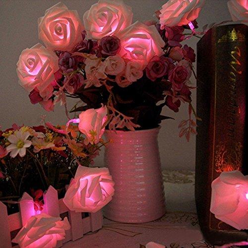 , 20LED/30LED/40LED/50LED Rosen Blumen feenhafte String Lights für Hochzeit Festival Garden Party Weihnachtsdekoration Zubehör (5M/50LED, Rosa) (Up-n-down-halloween)