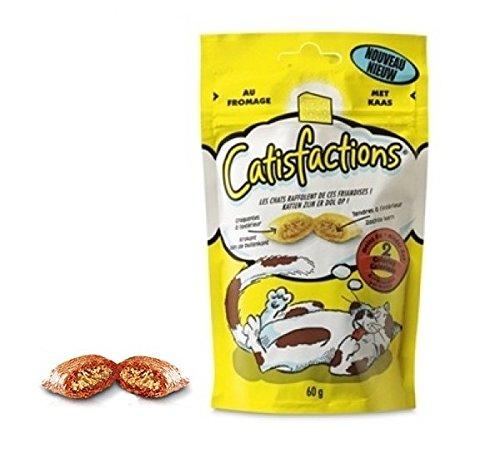 Catisfactions al formaggio - Premio per gatto con meno di 2 calorie, croccante fuori e morbido dentro