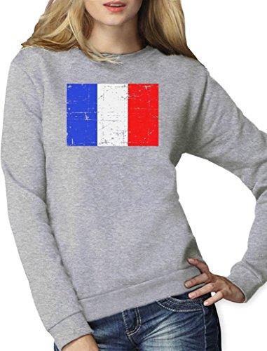 Vintage Fashion Style - Drapeau Français Sweatshirt Femme Gris Chiné