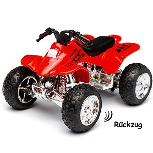 alles-meine.de GmbH Quad / ATV -  Rückzugsmotor - zum Aufziehen & Fahren / mit Rückzug - ROT  - bewegliche Räder - aus Metall & Kunststoff - Spielzeugquad - Auto / Aufziehfahrz..