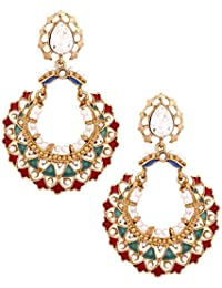 The Jewelbox 22K Gold Plated Maroon Green Meenakari Large Chaand Bali Earring For Women