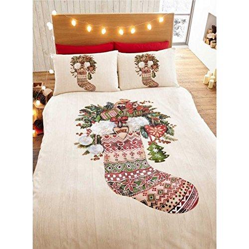Winter stocking calza invernale singolo, copripiumino e 1federa set di biancheria da letto natalizio