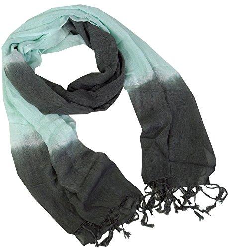 Guru-Shop Feiner Baumwollschal mit Farbverlauf, Herren/Damen, Mint/grau, Baumwolle, Size:One Size, 190x55 cm, Schals Alternative Bekleidung