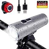 QITAO LED Fahrradlicht Set,Nestling USB Wiederaufladbare Fahrradbeleuchtung,2400 Lumen Sport Wasserdicht Fahrrad Scheinwerfer,4 Licht-Modi, entfernen,Rücklicht Set/stoßfest