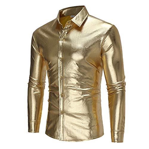 VRTUR Mode Herren Langarm Pullover Lässig Drucken Knopf Langarm Hemd Bluse Oberteile Tops(XL,Khaki) -