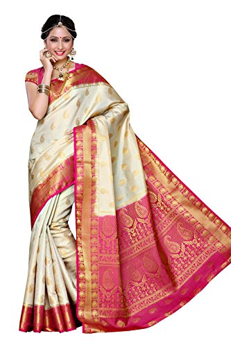 Mimosa Women's Traditional Art Silk Saree Kanjivaram Style With Blouse Color:Off White(3300-225-HWT-RNI )