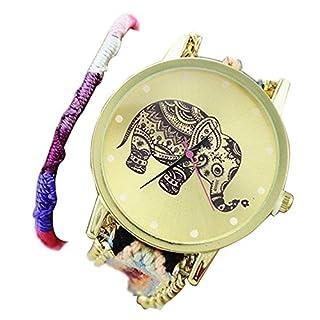 Minetom Frauen Weinlese Elefant Leder Armband Dekoration Quarz Analog Armband Uh ( Style 4 )