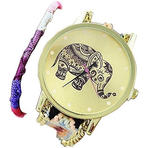 Minetom Carino Elefante Bracciale Intrecciato Orologio a Quarzo Classic Rotondo braccialetto da Donna Orologio da Polso