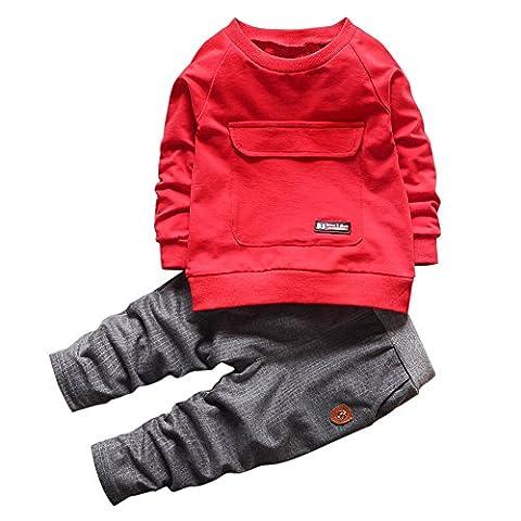 CHIC-CHIC Ensemble Sport Pull Bébé Garçon Fille Enfants Pull-over T-shirt à Manches Longues + Pantalons 5-6ans Rouge