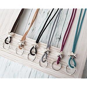 Wechselkette für Anhänger echtes Leder Stern Metallperle Farbwahl LederKette Bettelkette Lederkordel