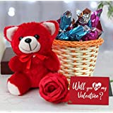 TIED RIBBONS Valentine Day Gift for Girlfriend Boyfriend Husband Wife Girls Boys - Valentines Special (Cute Teddy, Handmade Dark Chocolates, Vase, Rose and Greeting Card)