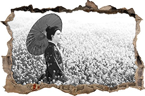 Geisha auf dem Feld Kunst B&W Wanddurchbruch im 3D-Look, Wand- oder Türaufkleber Format: 62x42cm, Wandsticker, Wandtattoo, (Kostüm Frisuren Geisha)