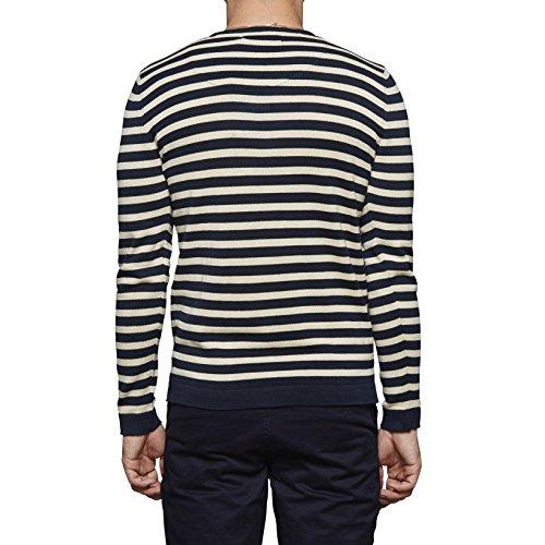 SUIT Herren Pullover Chester-Stripe-q3090 Blau (Navy/Off White Stripe 4330)